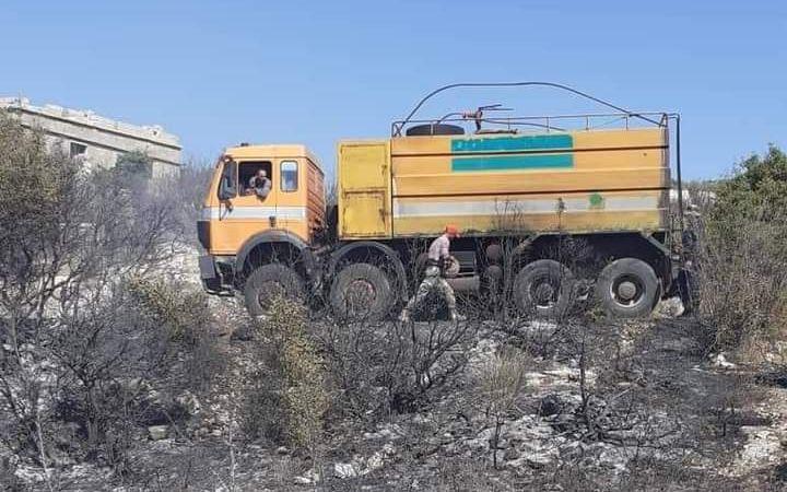 إصابة عامل إطفاء في حريق بريف الحفة